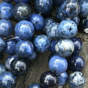 """8mm Natural Blue Dumortierite 15"""" Strand 45 Round Beads 1mm Hole"""