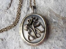 OCTOPUS CAMEO ANTIQUED BRONZE LOCKET - VINTAGE LOOK, QUALITY, STEAMPUNK