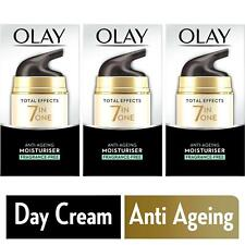 3 Olay Total Effects Day Cream Moisturiser 7-In-1 AntiAgeing Fragrance Free 50ml