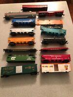 Vintage Pre-Owned Lot of 14 HO Scale TrainCars Use  Repair Missing Wheels (C3)