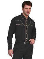 Men's New Scully Blend Snap Roper Western Cowboy Rodeo Shirt Black
