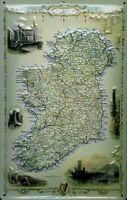 Irlande Map Carte Panneau Métallique Plaque 3D en Relief Étain Signer 20 X 30 CM