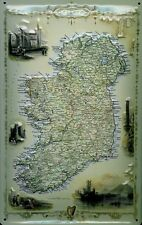 Ireland Irlanda MAP MAPPA LAMIERA SCUDO SCUDO 3d caratterizzato Tin Sign 20 x 30 cm