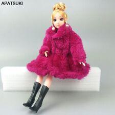 "Fuchsia Fashion Doll Clothes For 1/6 Doll Coat Winter Wear Dress For 11.5"" Doll"
