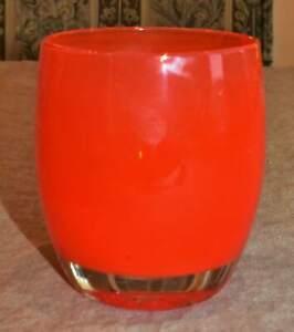 "Glassybaby Hand Blown Kumquat Orange Shine ""TANGERINE"" Votive Candle Holder 338"