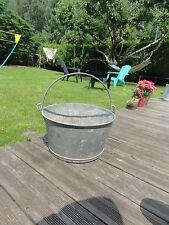 Ancien jus de grange déco jardin bassine  chaudron  en zinc galva pot à fleur