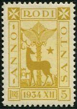 COLONIE ITALIANE - Egeo 1935 Anno Santo, 5 L. giallo oliva 5/1391