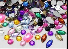 8x15mm Sew-On 150pcs Crystal Rhinestones Flat Back Art Craft Gems Stones.