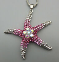 Betsey Johnson Pink/Yellow/Blue Crystal Sea Starfish Pendant Long Necklace