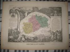 GORGEOUS ANTIQUE 1861 HAUTE SAONE VESOUL FRANCE LEVASSEUR HNDCLR MAP WINE REGION