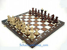 """LARGE WOODEN CHESS SET HANDCRAFTED  BOARD 21 1/4"""" x 21 1/4  SCHACH  AJEDREZ"""