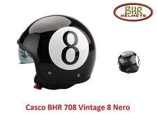 Casco Jet con Visiera a Scomparsa BHR 708 Vintage Grafica 8 Nero Taglia XL 61 cm