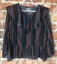 Rebecca Minkoff Womens Patti Blouse Size Small Bell Sleeve Stripe Print (V04)