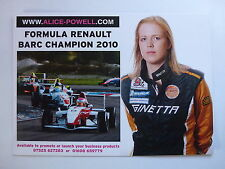 ALICE POWELL FORMULA RENAULT BARC CHAMPION 2010 OFFICIAL PHOTOCARD