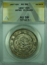 1897 Yen Japan ANACS AU 58 Details Cleaned 1 Yen Silver Coin Y#A25.3