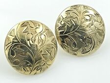 VINTAGE .925 Sterling Silver Vermeil, Decorative Etched Button Earrings, Posts