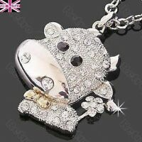 CUTE CRYSTAL COW NECKLACE bling animal pendant RHINESONE long chain silver pltd