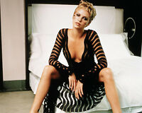 CHARLIZE THERON 8X10 PHOTO PICTURE PIC HOT SEXY DRESS ON BED CLOSE UP 75