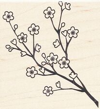 "Cherry Blossoms Stampabilities Rubber Stamp  Free Shipping   2 1/2"" x 2 5/8"" NEW"