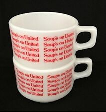 2 Pyrex Red *Soup's on United* Airlines Mug