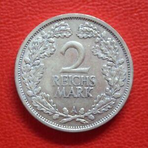 2 Reichsmark 1925 A vf / Silver/Weimar Republic/German Reich / Km# 45 J#320