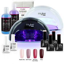 Mylee Mygel Kit LED Nail Lamp 4 Gel Polish Colours Top Base Prep+Wipe Remover