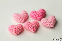 NEW 5 x Handmade Crochet Pink Hearts Amigurumi 3D Charm Wedding Card making