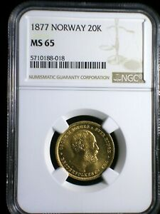 Norway 1877 Gold 20 Kroner *NGC MS-65* Key Date >TOPS POPS< None Graded Higher
