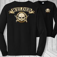 Welder skull long sleeve t-shirt - welding mig tig arc torch crossbones shirt