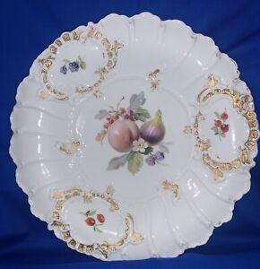 Meissen Large Hand Painted Porcelain Fruit Dessert Server Bowl Circa 1815 Gold