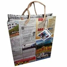 Recycled Indian Newspaper Gift Bags Jute Handles Fair Trade (Pk of 10) Small