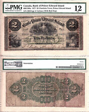 1877 $2 The Bank of PEI with Red C/C Overprint, 600-12-08a. PMG Fine 12
