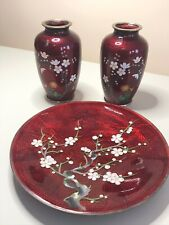 2 Vintage Japanese Sato Ginbari Cloisonne Vases & Plate Red with Flower Design