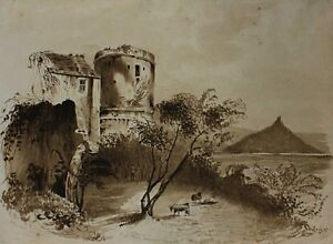 Antique ink wash drawing. Goats by castle ruins. Signed 1836