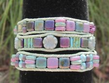 Mosaic Purple & Turquoise Green / Blue 3x Leather Wrap Czech Picasso Bracelet