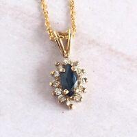 Vtg Sapphire & Diamond Necklace 14k Yellow Gold Drop Pendant Ladies Jewelry Blue
