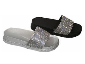 Damen Sandalen Strass Sommer Sandalen 05 Strand Schuhe Wedge Keilabsatz Silber