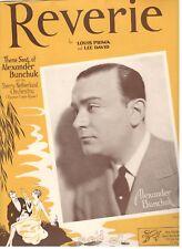 "LOUIS PRIMA ""REVERIE"" SHEET MUSIC-THEME SONG OF ALEXANDER BUNCHUK-1936-RARE-NEW!"