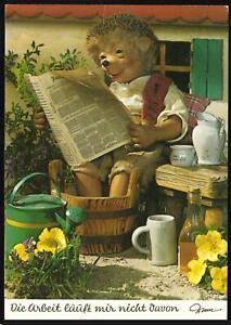 VINTAGE MECKI HEDGEHOG READING his NEWPAPER & SOAKING FEET POSTCARD - UNUSED