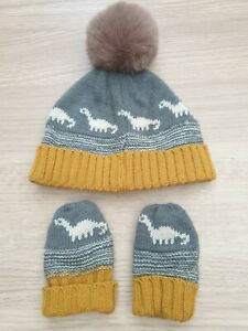 George Asda Baby Boys Hat And Mittens Set Bobble Grey Mustard Dino 6-12 Months