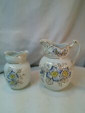Vtg 2pc Bedside small Water pitcher + vase Shabby Blue Chic yellow flowers