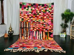 Moroccan Vintage Handmade Wool Rug 5.5x8.8 ft Berber Boujaad Tribal Colorful Rug