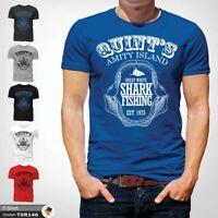 Amity Island Funny T Shirt Shark Jaws Quints Retro Movie Gift Him Dad Blue