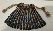 Victorian Crochet Tan Knit Pouch Purse w/Emerald Blue Green Beads w/Drawstring