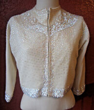 Vintage 50's NELSON CHAN ARTS & CO BEADED CARDIGAN SWEATER Sequins Pearl Holiday