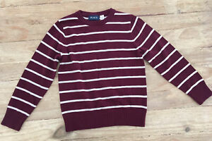The Childrens Place Boys Size S 5/6  Maroon Striped Crewneck Sweater NEW