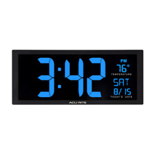 Oversized Blue LED Digital Wall Clock Desk In Door Temp Date Fold Out Stand New