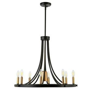 JONATHAN Y Urbanna  9-Light Black/Brass Gold Adjustable LED Chandelier