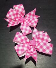 3inches pink gingham Pinwheel Hair bow nonslip Alligator Clip lot of 2 plaid