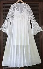 2pc Long White Crochet Lace Bell Sleeve Peasant Boho Maxi Dress 16 18 XL 1X